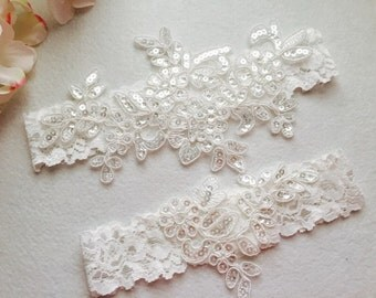 Rustic wedding Garter - White Wedding Garter Set - Bridal Garter-Keepsake garter-Toss garter