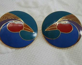Vintage LAUREL BUNCH Harlequin bird enamel stud earrings