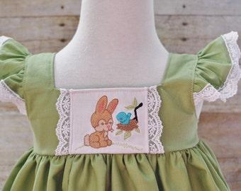 Girl's dress, girl's spring dress, girl's Easter dress, girl's vintage inspired Easter dress, Lace dress, Easter bunny dress