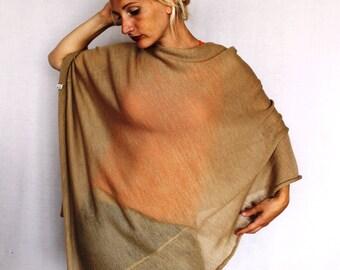 Women Poncho Merino wool sweaters Pure New Wool Cape women's Coat Bordeaux Wool Poncho Feminine beige light brown exclusive hippie style