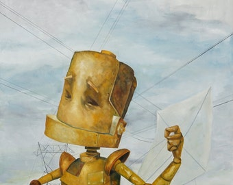 Kite Flyer Robot Painting Print