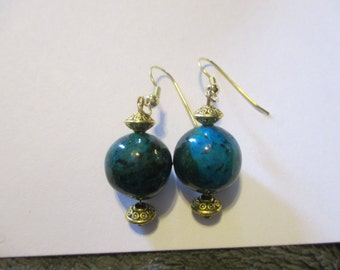 Large Chrysocolla Beaded earrings