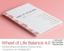 LIFE BALANCE WHEEL Erin Condren Inserts Filofax Inserts personal organizer printable pdf Wheel of Life Balance. Instant Download 4 pages