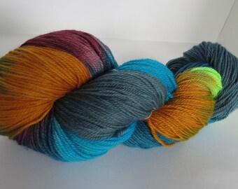 Hand Dyed 80/20 Merino Sock Yarn, Teal Dreams, 115g/420yards