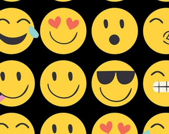 "Emoji Tissue Paper # 255 .....10 large sheets - 20"" x 30"" - Emojis on Black background  - smiley faces"