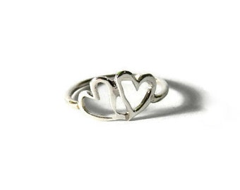 Open Heart Ring , Heart Ring , Sterling silver open heart ring , Silver ring , Heart silver Ring ,  Love Ring  ,Valentine's day gift