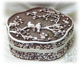 BEAUTIFUL TRINKET BOX . . Carved Ivory Look
