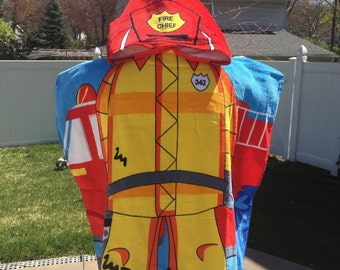 Kids Fireman Fire Fighter Hooded Beach Towel Poncho – Personalized