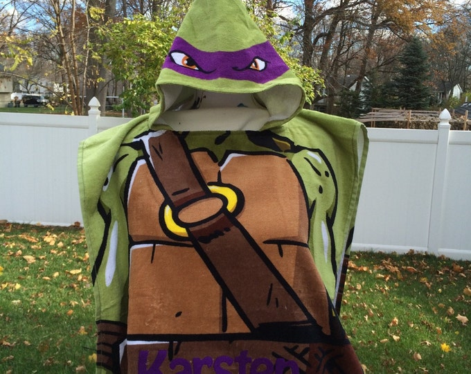 TMNT Teenage Mutant Ninja Turtles Boy's Hooded Towel Poncho Purple Donatello – Personalized