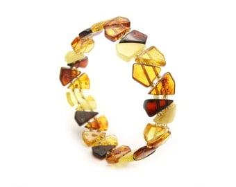 Amber Beaded Bracelet - Amber Stretch Bracelet - Multicolored Amber Bracelet - Beaded Bracelet - Amber Bracelet - Amber Jewelry -DO-101