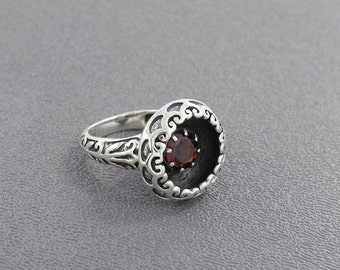 On Sale Natural Garnet Ring, Designer Garnet Ring, Red Stone Ring, January Birthstone Ring, Sterling Silver Ring, Christmas Gift Jewelry