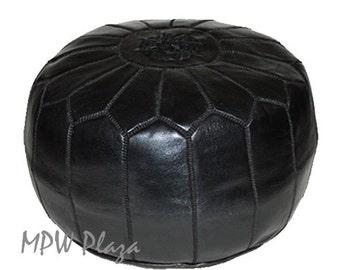Sale-Black Moroccan Leather Pouf / Ottoman
