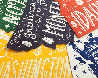 Northwest State Postcards , Set of 5, Die Cut Letterpress State Postcards