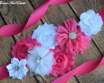 Flower Sash, Hot pink and white Sash , flower Belt, maternity sash