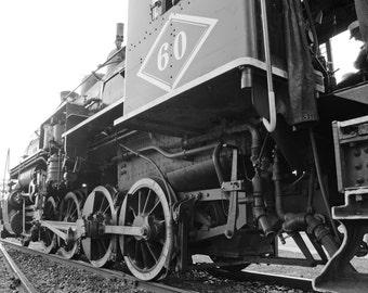 Steam engine photo, train decor, black and white photo, train wall art, steam locomotive, fine art print, boys room decor, train photograph
