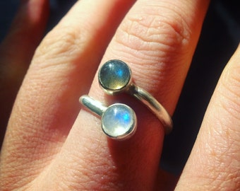 Moonstone and Labradorite Adjustable Ring