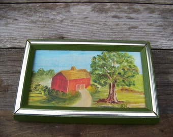 Vintage Wood Framed Old Barn Canvas Painting Farmhouse Décor Americana