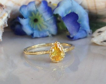 5% off-SALE!! Gold Citrine Ring - Gemstone Ring - Stacking Ring - November Birthstone Ring - Teardrop Ring - Slim Ring