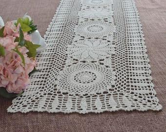 Vintage style table runner crochet, Chic crochet pattern table topper overlays, 100% handmade oblong table runners