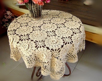 """Made to order ~ Vintage style 43x43"""" square table cover, 100% handmade beige table cloth, hand crochet 3D design table topper for home decor"""