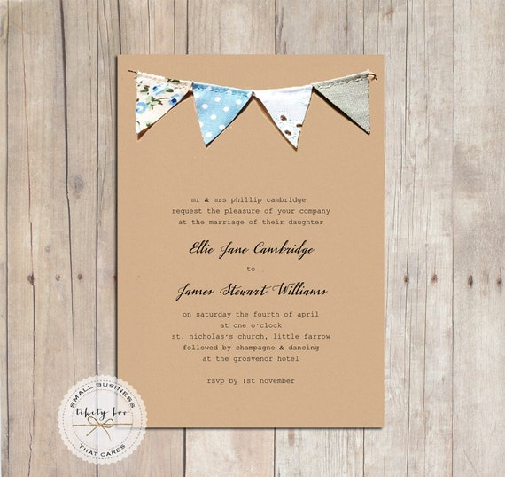 Bunting Wedding Invitations UKRustic Wedding By