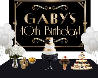 Art Deco Personalized Backdrop - Birthday Cake Table Backdrop Birthday-Roaring 20s Backdrop - Custom Backdrop, 40th Birthday Backdrop