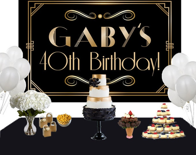 Featured listing image: Art Deco Personalized Backdrop - Birthday Cake Table Backdrop Birthday-Roaring 20s Backdrop - Custom Backdrop, 40th Birthday Backdrop