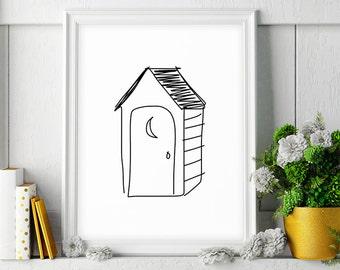 Outhouse Decor, Restroom Bathroom Decor, Black and White Print, Bathroom Wall Decor, Minimalist Poster, Printable Art, Digital Download