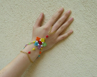 Chakra jewelry collection - colorful chakra flower chain slave bracelet