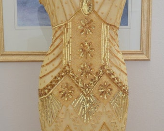 1920s Starlight Gold Beaded Flapper Dress- S,m,L,xl, or Plus sizes