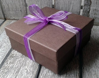 Gift Box, gift wrapping, present, gift wrap, gift, bow, ribbon, finishing touch, presentation, gift box with lid, chocolate brown, earrings