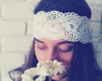 White Lace Headband, Stretchy Headband,  Wide Lace Headband, Bohemian Headband, Womens Lace Headband, Bridesmaids Hair, Fashion Hair Bands
