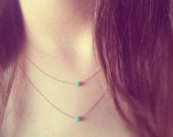 Opal Layered Necklaces, 2 Layering Necklaces, Opal Necklaces ,Opal Layering, Layered Opal Jewelry, Double Layered,Minimalist Bridal Necklace