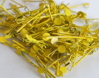 15, 30, 60 pcs Yellow Color Bobby Pins Hair Clips with 8mm Glue Pad 47mm long
