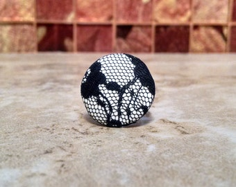 Black Lace Button Ring