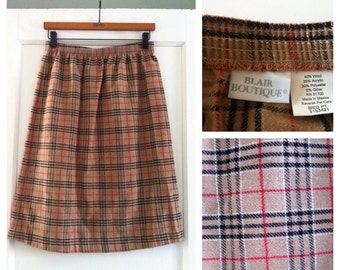 Vintage 80s Plaid Wool Blend Skirt