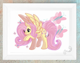 My Little Pony Fluttershy Fan Art Print Gift Handmade Design