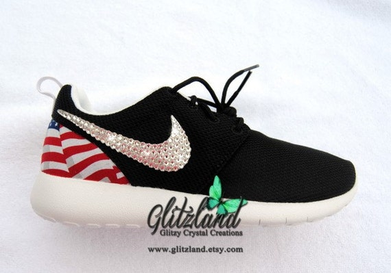 fisas Swarovski Nike Roshe Run w/ Flag Print Heel Blinged by Glitzland