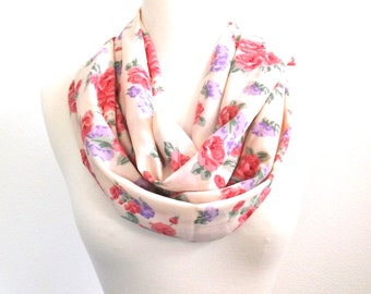 Flower Scarf, Spring Scarf, Floral Scarf, Pink Scarf, Infinity Scarf, Women's Scarves, Gift for Her, Women's Fashion Accessories, Gift