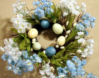 Rustic Easter Wreath, Mini Wreath Willow Mini Spring Flowers Easter Candle Ring Pantry Door Wreath White Blue Wreath