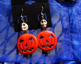 Halloween Jack-o'-lantern dangle earrings