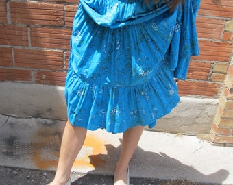 "Vintage Blue Cotton Country and Western Prairie Skirt 31"" Waist"