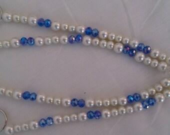 Blue crystal & pearl curtain tie backs ...blue..Crystal