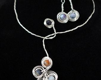 Handmade agate grape jewelry set