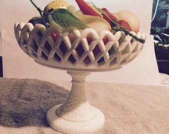 Milk Glass Pedestal Dish with Fruit