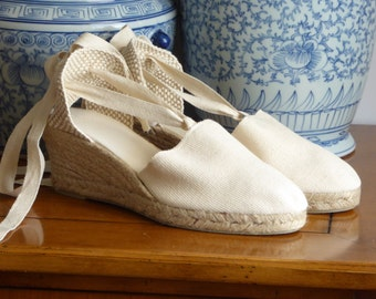Lace up espadrille WEDGES - IVORY - mumishoes - made in spain