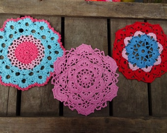 crocheted vintage doilies