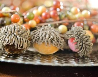 Silk Velvet Acorns in Various Colors, Real Acorn Caps, Set of 10, Thanksgiving, Fall Decor, Table Centerpiece, Real Acorn Caps