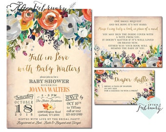 3-Piece Fall Baby Shower Invitations Set Autumn Baby Shower Invitations Fall in Love Baby Shower Invite // Printable OR Printed No.1277BABY
