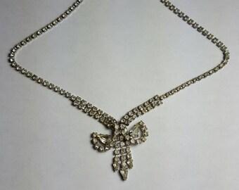 Vintage Rhinestone Choker Bridal Jewelry Necklace